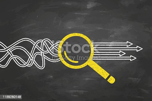 istock Solution Concept with Magnifying Glass on Blackboard Background 1159280148