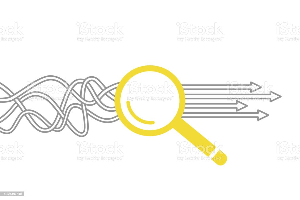Solution Concept with Magnifying Glass vector art illustration