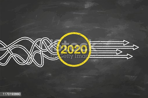 Solution Concepts New Year 2020 on Blackboard Background