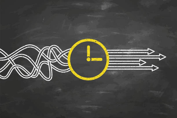 illustrazioni stock, clip art, cartoni animati e icone di tendenza di solution concepts with time on blackboard background - time