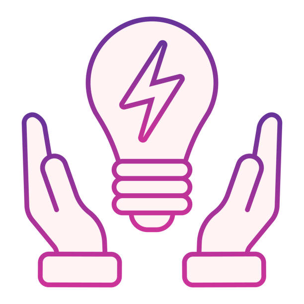 Solution flat icon. Light bulb in hands violet icons in trendy flat style. Innovation gradient style design, designed for web and app. Eps 10. Solution flat icon. Light bulb in hands violet icons in trendy flat style. Innovation gradient style design, designed for web and app. Eps 10 energy efficient lightbulb stock illustrations