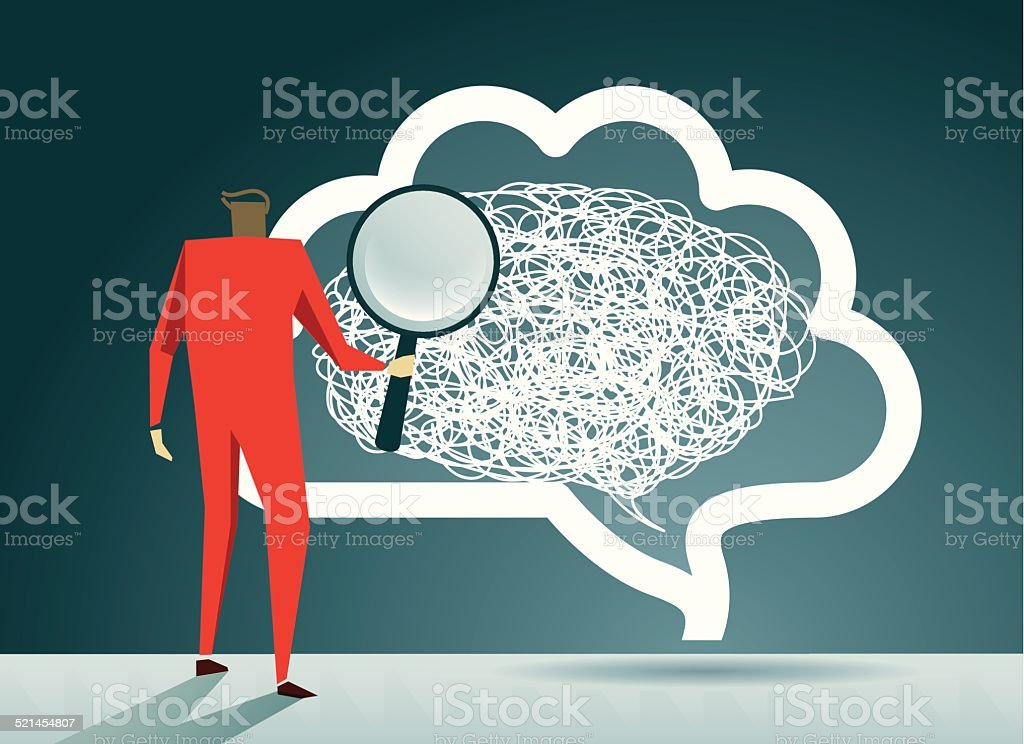 Solution, Ideas, Brain, Creativity, Magnifying Glass vector art illustration