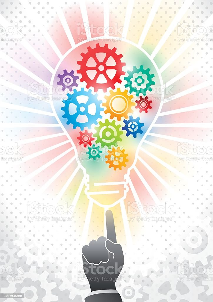 Solution in light bulb concept royalty-free stock vector art