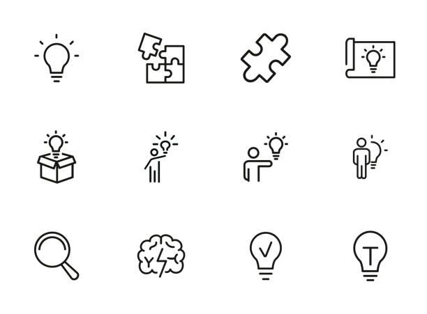 솔루션 라인 아이콘 세트 - 상징 stock illustrations