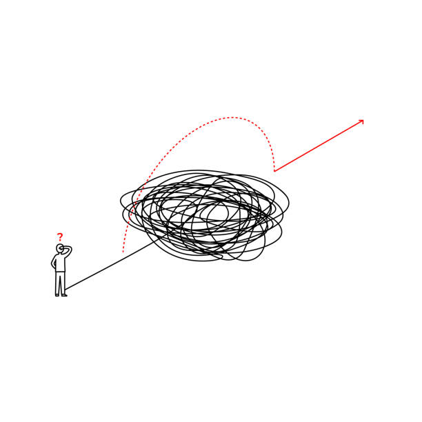 solution looking for complicated problem illustration. businessman looking for ways to success symbol. tangled scribble line vector path doodle design. - jumping stock illustrations