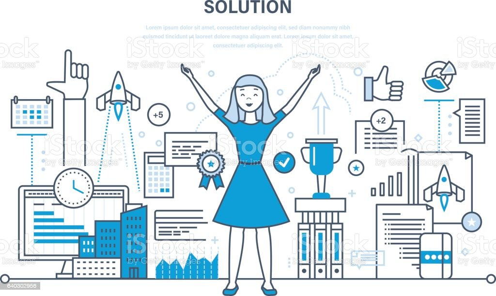 Solution, success in work, knowledge, achieving goals, high results, development. vector art illustration