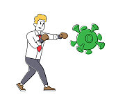 Concept of Solution to Stop Covid Virus Contamination and Pandemic in Business. Businessman Character in Boxing Gloves Fighting with Huge Coronavirus Cell or Bacteria. Linear Vector Illustration