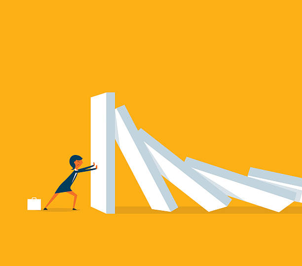 Solution Domino Effect crisis stock illustrations