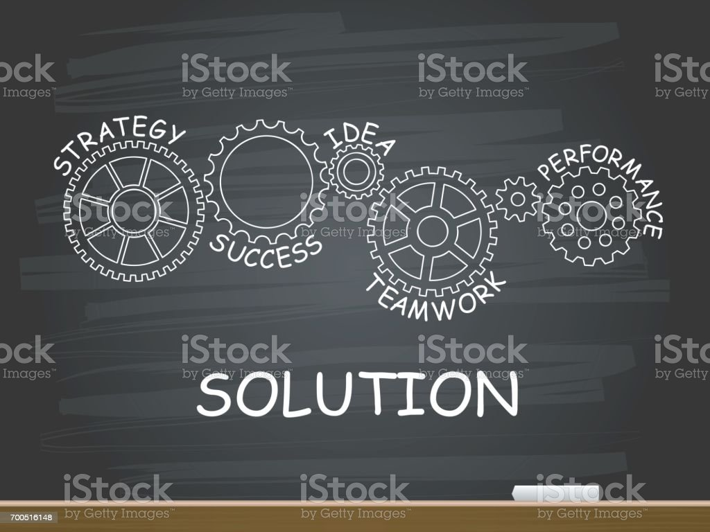 Solution with gear concept on chalkboard. Vector illustration. векторная иллюстрация