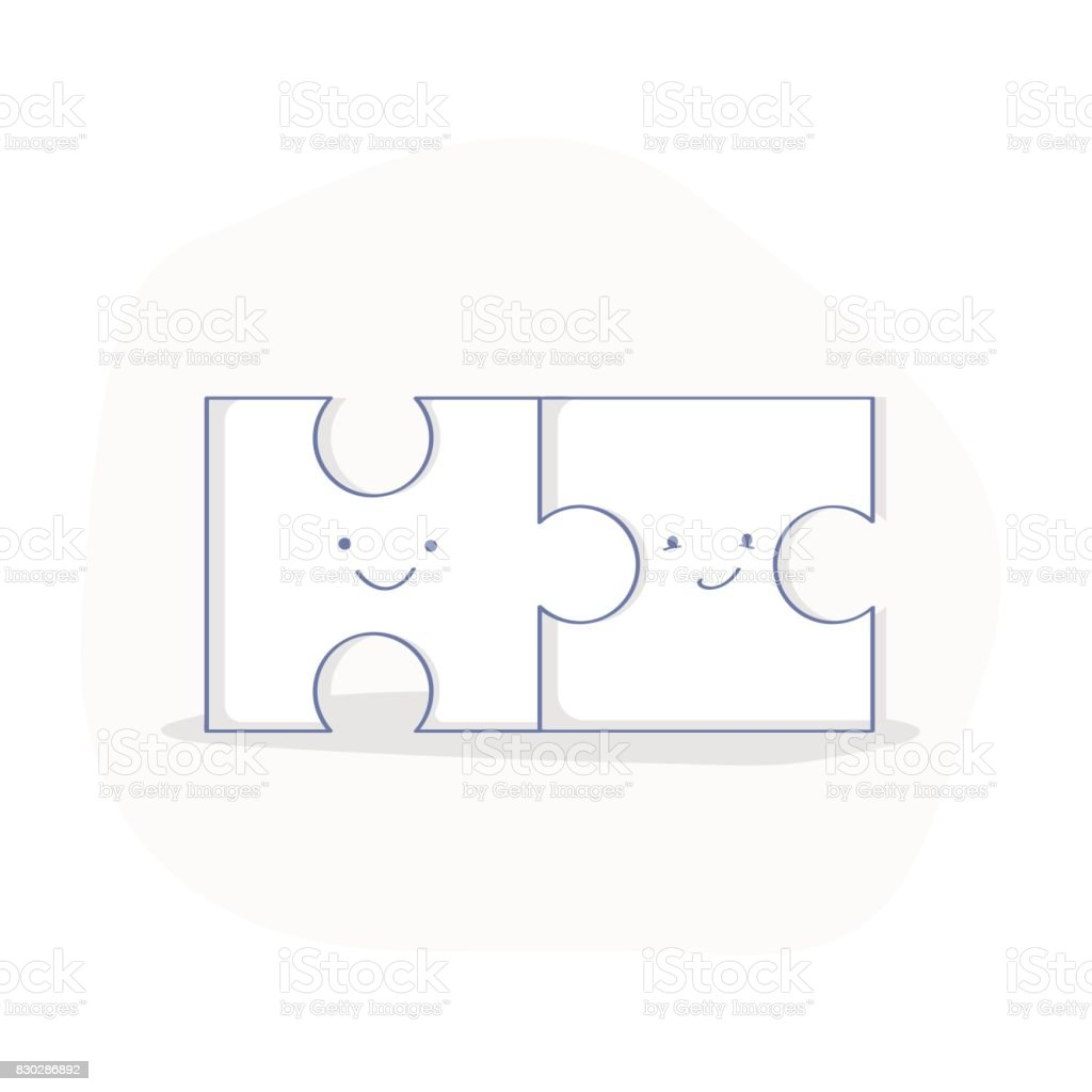 Solutions puzzle concept, compatibility or compound vector art illustration