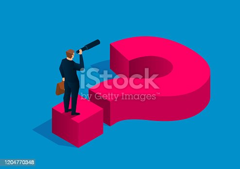 istock Solving business problems, businessman holding binoculars standing on question mark 1204770348