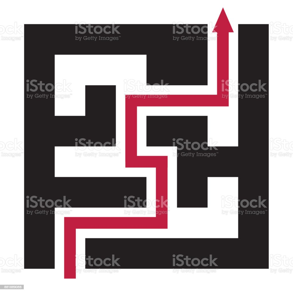 Solving problems icon - solution concept with maze vector art illustration