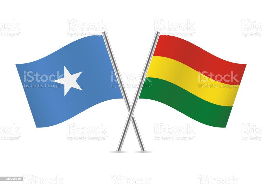 Banderas de Somalia y Bolivia. Ilustración de vector. - ilustración de arte vectorial