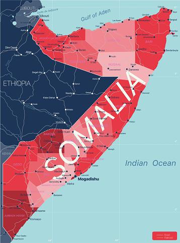 Somalia country detailed editable map