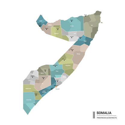 Somalia higt detailed map with subdivisions.