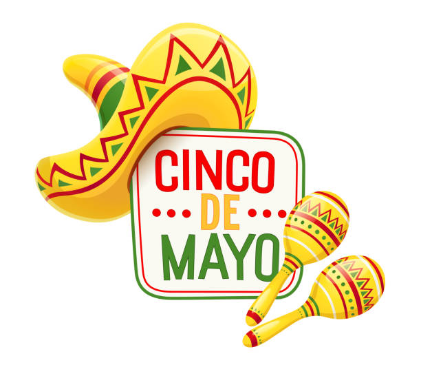 Sombrero and maracas for Cinco de Mayo Sombrero and maracas for Cinco de Mayo celebration. Mexicano ethnic symbols for national Mexico holiday. Isolated white background. EPS10 vector illustration. cinco de mayo stock illustrations