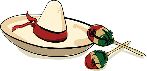 Sombrero and Maracas For your fiesta! mexican restaurant stock illustrations