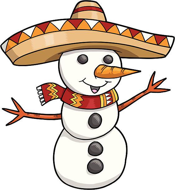 Sombrero Christmas Holiday Snowman vector art illustration