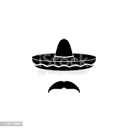 Sombrero icon, isolated on white