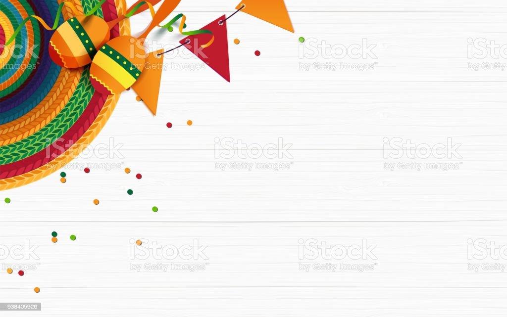 Sombrero, maracas, confetti on white wooden background. vector art illustration