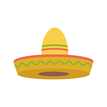 Sombrero - Mexican hat colorful flat vector icon for apps and websites. Cartoon illustration.