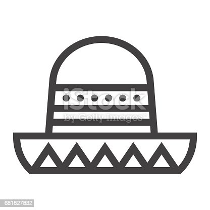 istock Sombrero Mexican hat line icon, Travel and tourism, vector graphics, a linear pattern on a white background, eps 10. 681827832