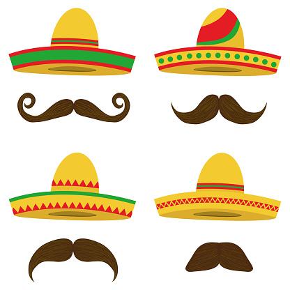 Sombrero, Mexican Sobrero set with a mustache. Mexican headdress.