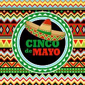 Sombrero hat on Mexican pattern to celebrate the Cinco De Mayo fiesta