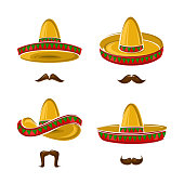 Collection sombrero set, edit size and color, vector