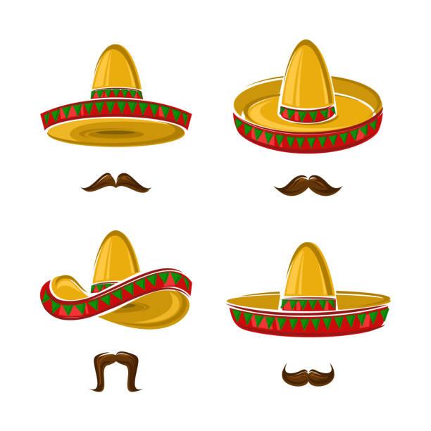 bildbanksillustrationer, clip art samt tecknat material och ikoner med sombrero set. samling ikon sombrero. vektor - spain solar
