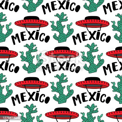 istock Sombrero vector Seamless Pattern. Mexican hand drawn design with cactuss for prints design decorations. 1279818842