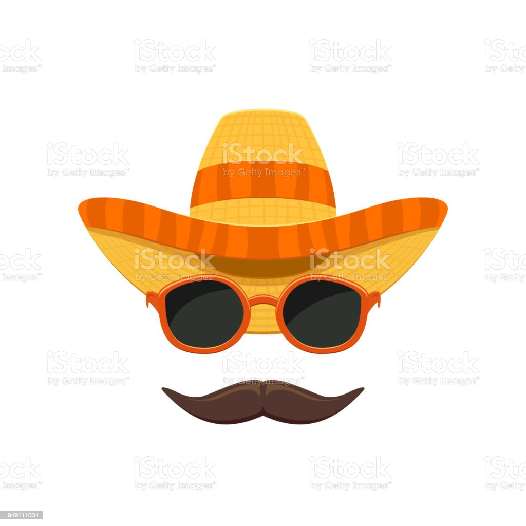 Sombrero with sunglasses and moustache vector art illustration