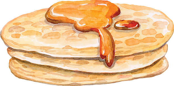 some appetizing pancakes with sweet maple syrup some appetizing pancakes with sweet maple syrup - watercolor vector drawing - healthy food maple syrup stock illustrations