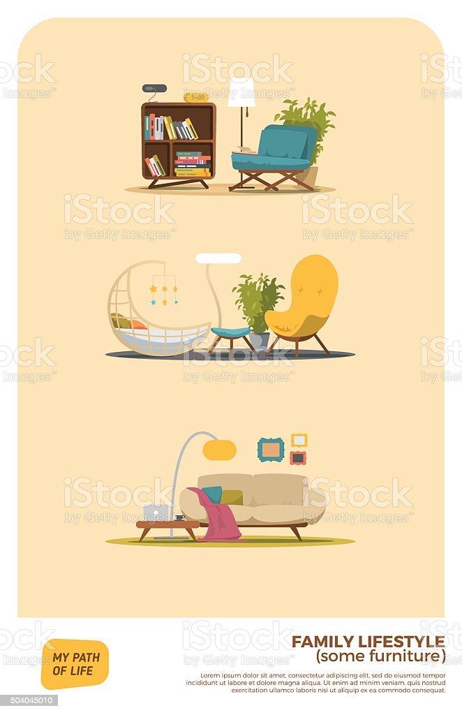 Some furniture set vector art illustration