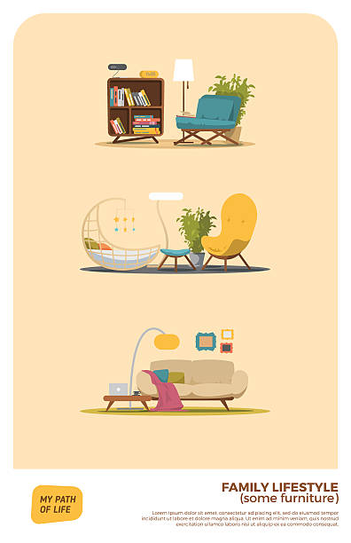 some furniture set - living room stock illustrations, clip art, cartoons, & icons