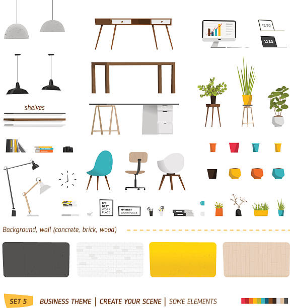 일부 furnitures 비즈니스 - modern office stock illustrations