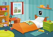 Vector illustration of a cartoon children bedroom with boy or girl lifestyle elements, toys, bed, books, desk, bookshelf, teddy bear. File is EPS10 and uses overlay transparency at 30% on light ray from window and multiply transparency at 40% for wall