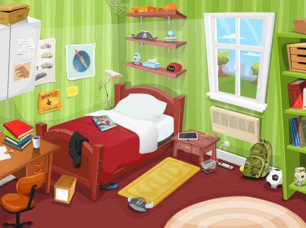 Some Kid Or Teenager Bedroom Illustration of a cartoon kid or teenager bedroom with boy or girl lifestyle elements, toys, bed, books, desk, bookshelf, and accessories in mess bedroom stock illustrations