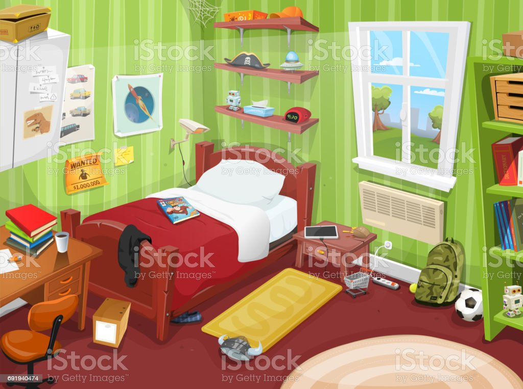 Superior Some Kid Or Teenager Bedroom Vector Art Illustration