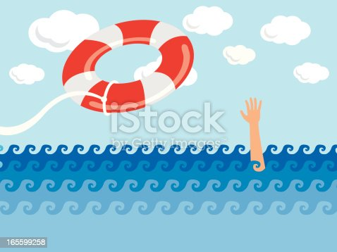 A life preserver being thrown to a drowning person.