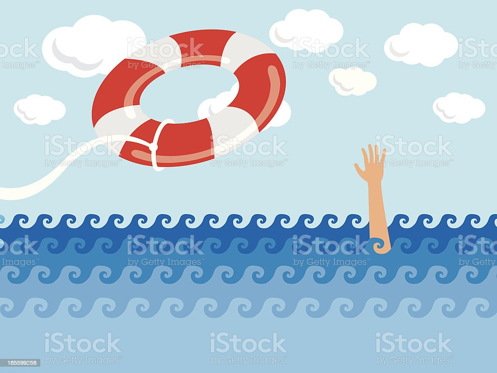 Someone in need of help getting thrown a life preserver  vector art illustration