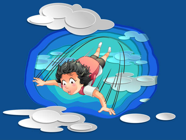 ilustrações de stock, clip art, desenhos animados e ícones de someone is jumping on sky with clouds background in paper cut style. - parapente