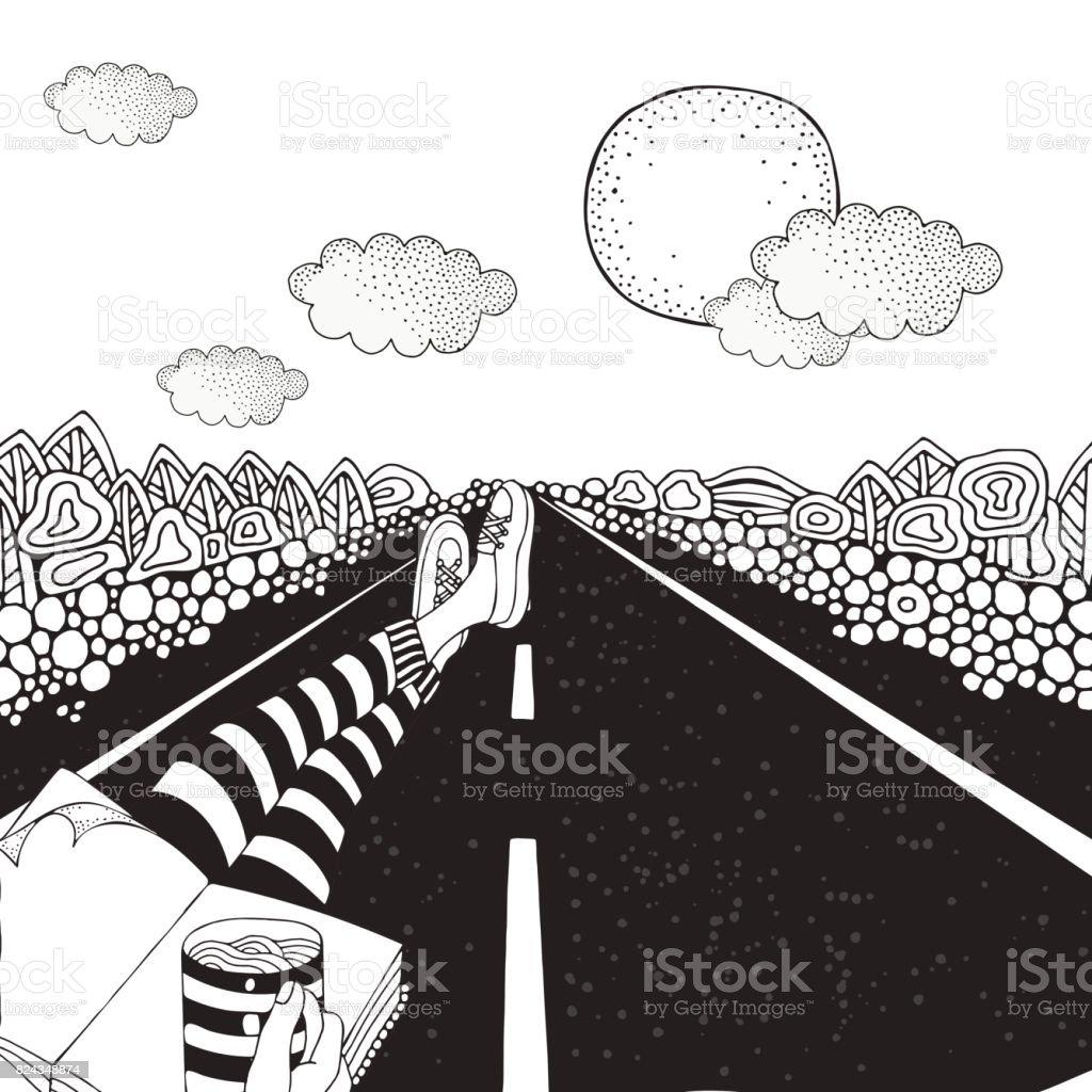 Ilustración de Alguien Está Sentado En La Carretera Y Tomando Café ...