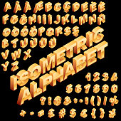 Vector isometric alphabet with golden color