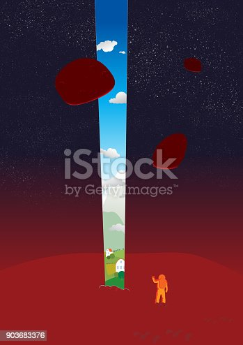 A kind of red planet with asteroids satellites in orbit. Astronaut with astonishment look at the portal opened on his native planet