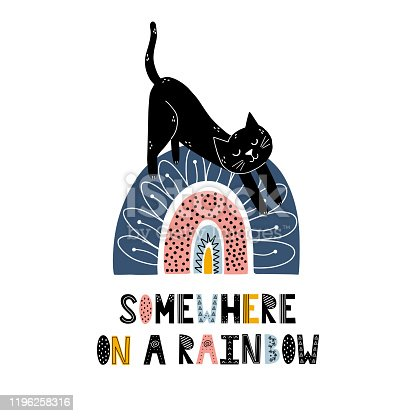 Somewhere on a rainbow print with a cute cat. Scandinavian style magic poster. Card for children. Vector illustration