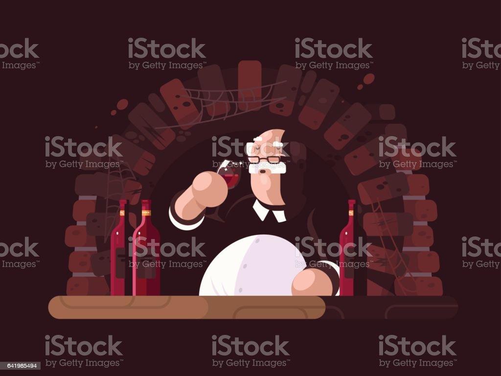 Sommelier tasting wine vector art illustration