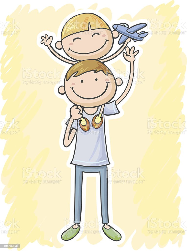 Son and Dad in cartoon style royalty-free stock vector art