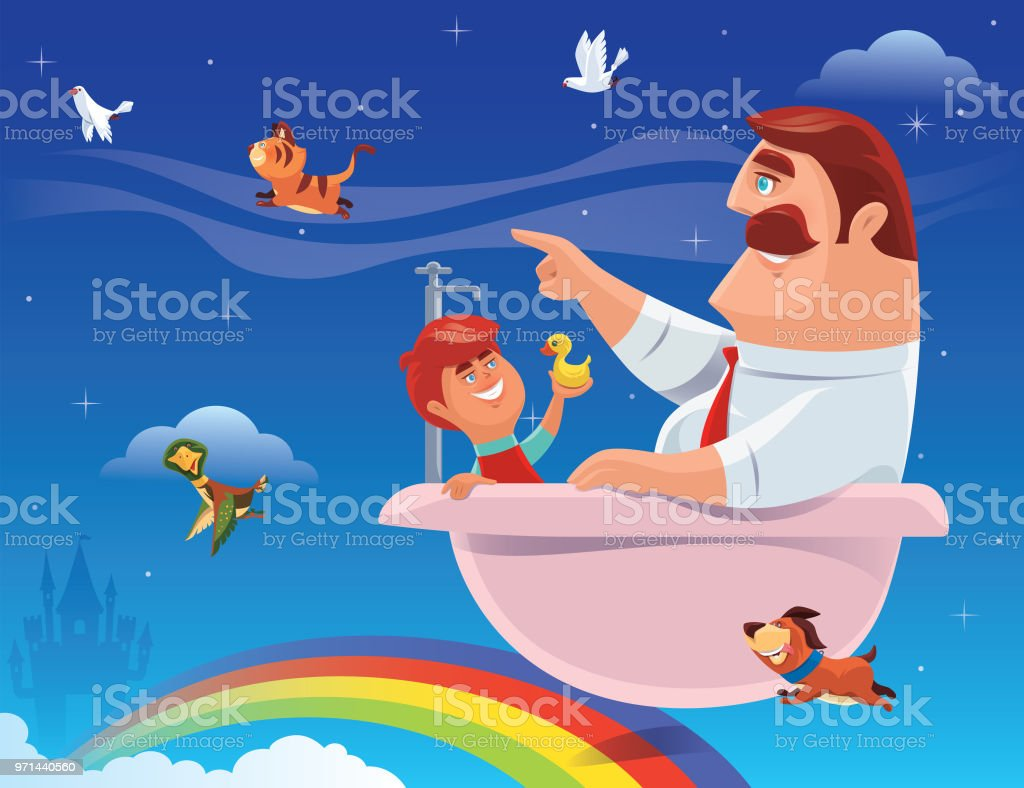 Son And Father Sitting In Bathtub Stock Vector Art & More Images of ...