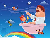 son and father sitting in bathtub